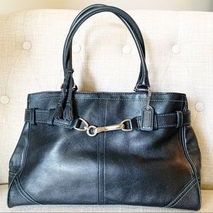 Coach - Hamptons Satchel Carryall Black Teal